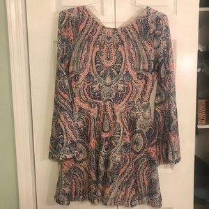 Pink blue paisley designed Lacey dress